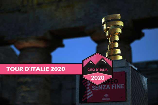 Le trophée lors de la 103ème présentation de l'équipe du Giro d'Italie 2020 dans le parc archéologique de Segesta à Palerme