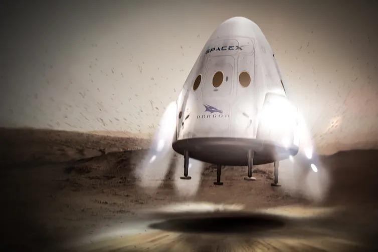 Art conceptuel de l'atterrissage du dragon de SpaceX sur Mars