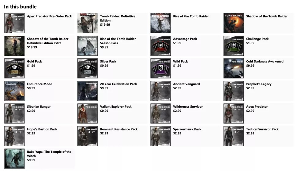 Tom Raider sur Microsoft Store