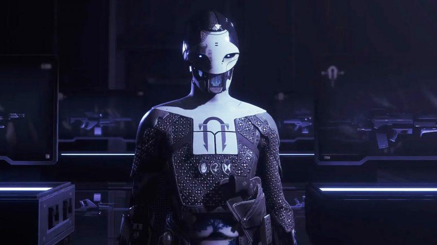 Ada-1 debout dans une pièce sombre devant plusieurs armes à feu derrière des vitrines