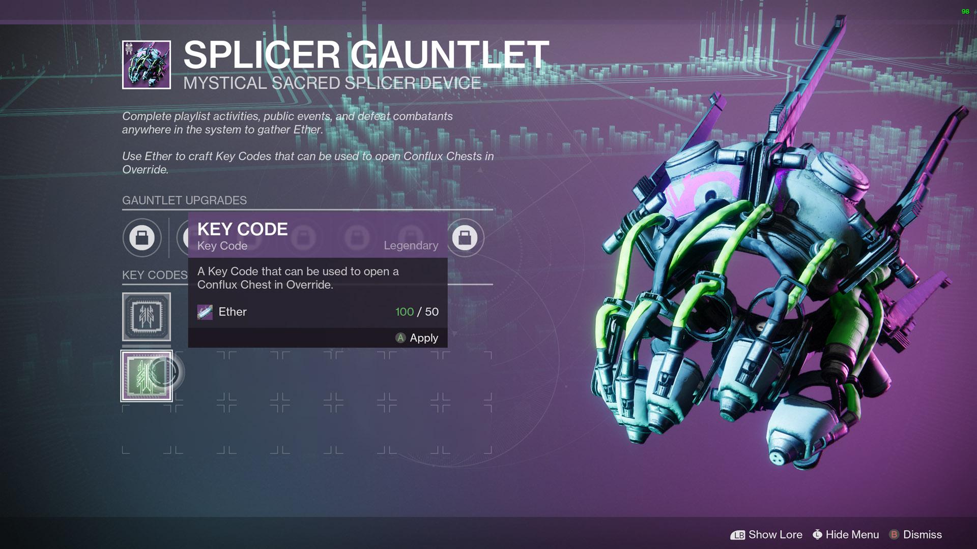 code clé du gantelet de Splicer destin 2