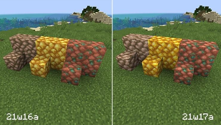 Une comparaison entre les textures de minerai brut dans l'instantané 21w16a et l'instantané 21w17a.