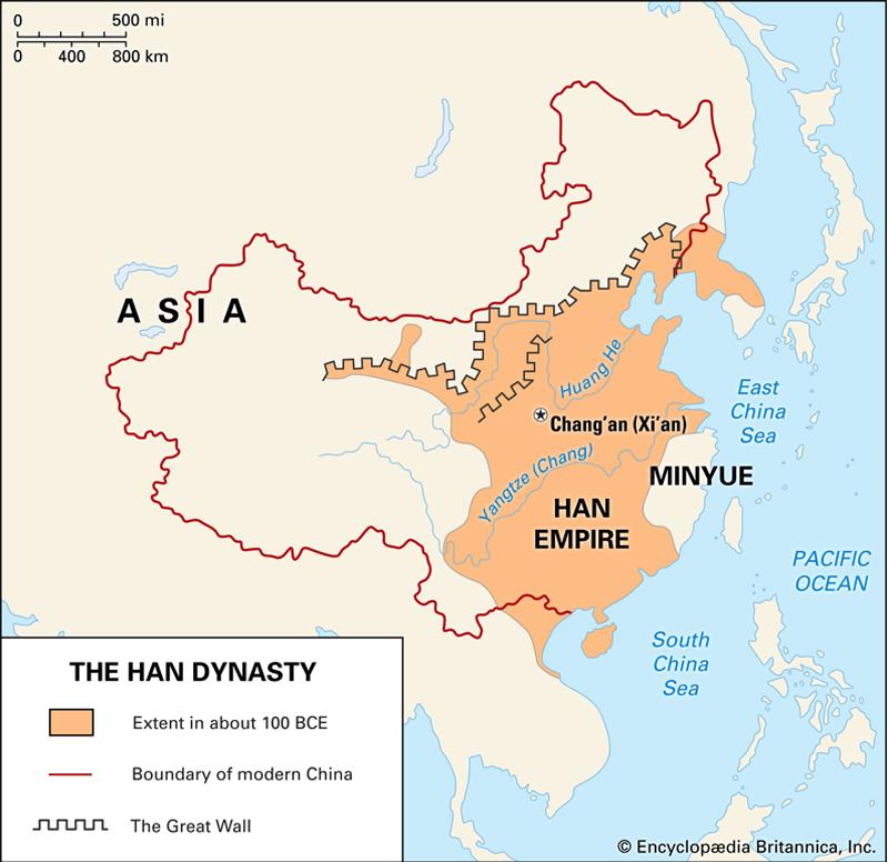 Le territoire de la dynastie Han en 100 avant J.-C
