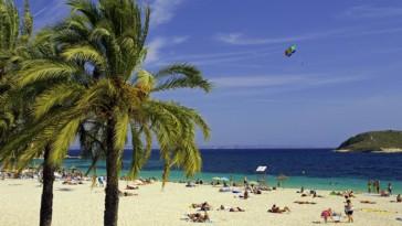 Espagne, Baléares, Majorque, Magaluf. Magaluf est une importante station de vacances sur l'île espagnole de Majorque.