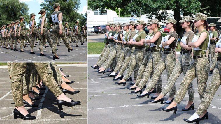 Fureur des femmes soldats en Ukraine obligées de marcher en talons.